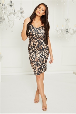 Sistaglam Loves Jessica Wright Sassi Multi bardot animal bodycon dress with waist rouching