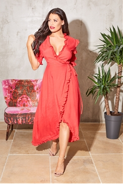 Jessica Wright Sugar red ruffle sleeve wrap dress with frill detail