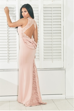 Jessica Wright Lorani pink/nude maxi insert sweetheart neckline with back keyhole and bow