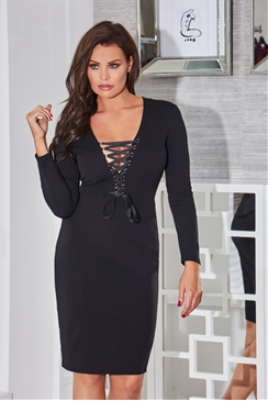 Jessica Wright Zelia Black V-Neck Long Sleeve Bodycon Dress With Lace Up Waist Detail