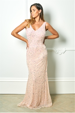 Sistaglam Special Edition Jessica Rose Sistaglam Lindiana pink all over sequin maxi dress