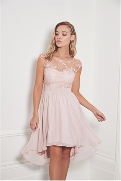 Sistaglam Bevianna pink embellished lace midi bridesmaid dress