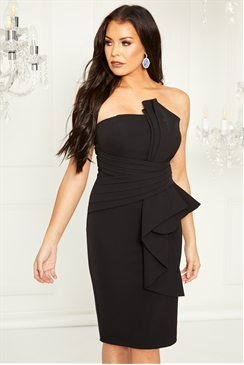 Sistaglam Loves Jessica Wright Prisha black structured bandeau origami pleated tailored midi dress