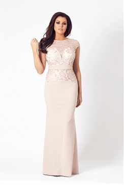 Jessica Wright Zendana Nude VIP Lace Sequin Maxi Dress