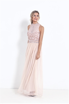 Sistaglam Debbie Nude Embroidered Maxi Dress