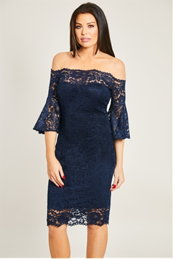Jessica Wright Ilana Navy Off The Shoulder Lace Flare Sleeves Midi Dress