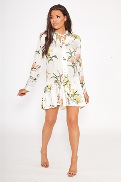 Jessica Wright Claryce multi white floral print frill long sleeve shift dress with bow tie