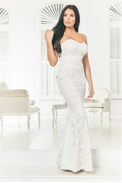Jessica Wright Livy cream nude bandeau all over lace maxi dress