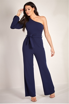 Sistaglam Loves Jessica Wright Olympy navy split one shoulder long sleeve wide leg jumpsuit