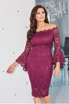 Jessica Wright Vanessa Berry Off The Shoulder Lace Dress With Bell Sleeves