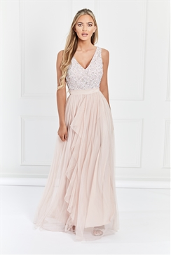 Sistaglam Yasmin Blush Sequin Detailed v neck top Tiered Bridesmaid Dress