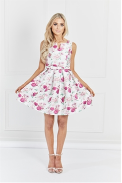 Sistaglam Emery Rose Floral Print Skater Prom Dress