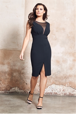 Jessica Wright Amalia Black Mesh Bodycon Dress With Split