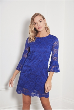 Sistaglam Kailie cobalt all over lace midi dress