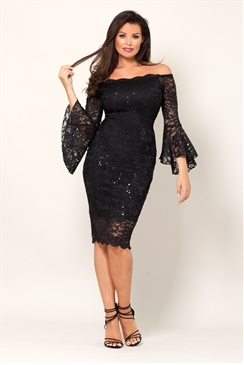 Jessica Wright Vanessa Black Lace Off The Shoulder Long Frilled Sleeve Bodycon Dress
