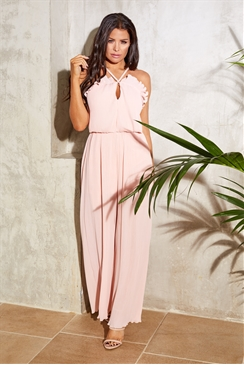Jessica Wright Lucienne blush pleated jumpsuit frill halter neck