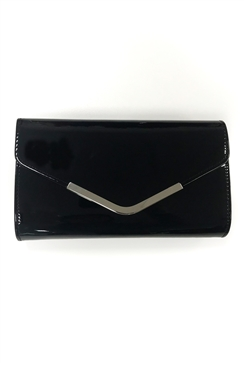 Sistaglam Lancy Black Patent Clutch