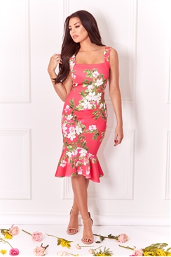 Sistaglam Loves Jessica Wright Sunny multi floral print frill hem dress