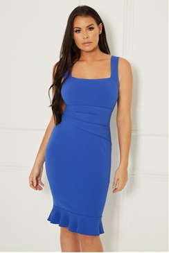 Sistaglam Loves Jessica Wright Sunday Blue squared neckline with ruched stomach and frill hem dress