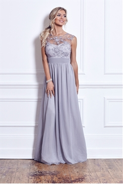 Sistaglam Beverley Silver Lace Bridesmaid Maxi Dress
