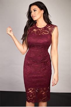 Sistaglam Loves Jessica Wright Calinda berry lace midi bodycon short sleeve scallop hem dress