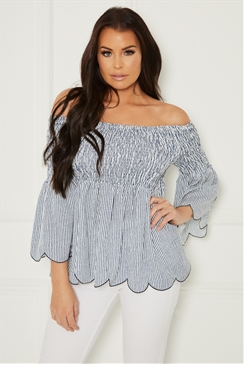 Sistaglam Loves Jessica Wright Ramona stripe multi long sleeve bardot elasticated stripe top with shearing detail