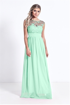 Sistaglam Beverley Mint Green Lace Bridesmaid Maxi Dress
