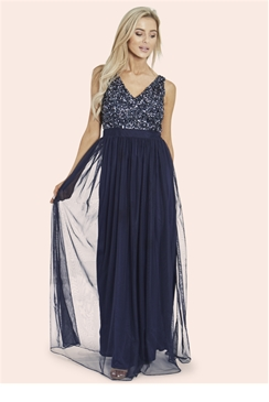 Sistaglam Ettie Navy Sequin V Neck Top Maxi Dress