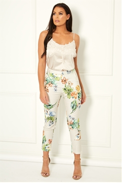Jessica Wright Noemi cream multi tailored floral print trousers with pocket