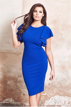 Jessica Wright Sianna Cobalt Blue Frilled Sleeve Bodycon Dress