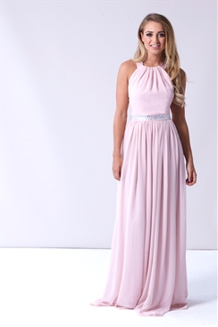 Sistaglam Rosana Nude High Neck Maxi Dress