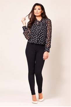 Jessica Wright Joan Black and White Polkadot Chiffon Top