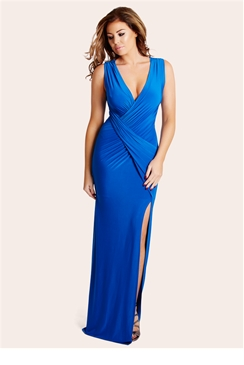 Jessica Wright Mylene Blue Slinky Ruched Wrap Front Maxi Dress