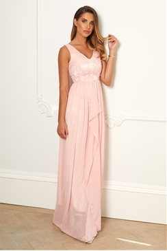 Sistaglam Special Edition Jessica Rose Baliana pink/Blush v neck maxi dress