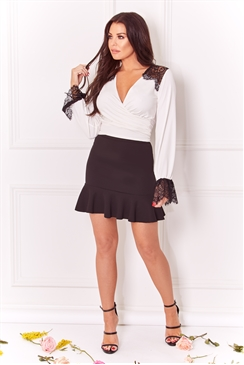 Sistaglam Loves Jessica Wright Emelee White top long sleeve with lace detail on shoulder and cuffs