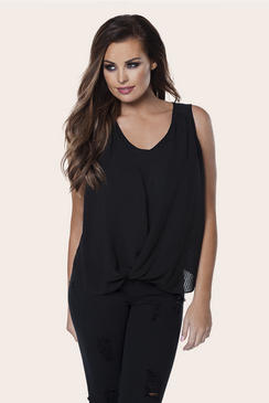 Jessica Wright Raina Black Sleeveless Wrapover Blouse