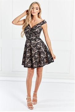 Sistaglam Marty Black And Nude Lace Bardot Prom Dress