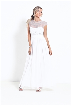 Sistaglam Kadie White Diamante Embroidered Wedding Dress