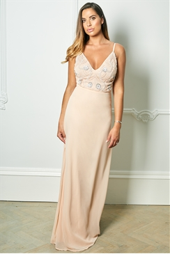Sistaglam Special Edition Jessica Rose Janicey Nude Strappy Embroidered Bodice Maxi Dress