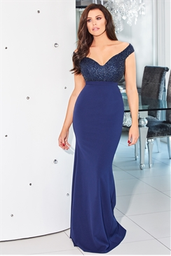 Jessica Wright Seraphina Navy Vip Bardot Sequin Rouched Maxi Dress