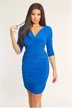 Jessica Wright Melinda cobalt wrap bodycon dress 3/4 sleeve side ruching