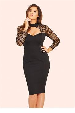 Jessica Wright Clancy Black Lace Sweetheart Bodycon Dress