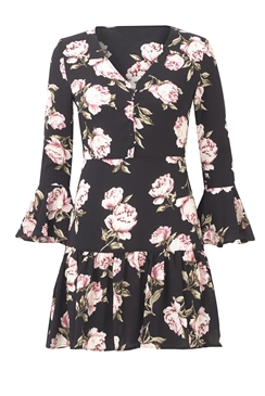 Sistaglam loves Jessica Wright Iggy pink rose multi gap sleeve floral dress with frill flare skirt