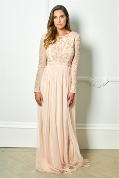 Sistaglam Special Edition Jessica Rose Texla blush long sleeve embellished maxi dress