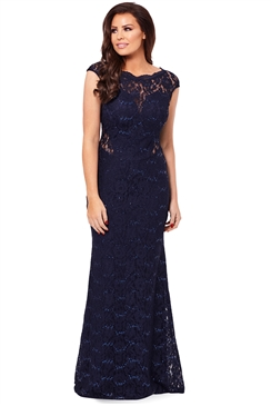 Jessica Wright Eliora Navy Sequin Lace Maxi Dress