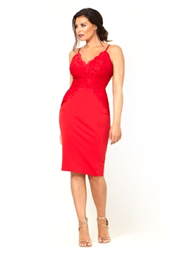 Jessica Wright Santana Red Lace Sweetheart Neckline Bodycon Dress With Spaghetti Straps