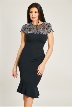 Jessica Wright Sonya Black Midi Bodycon With Monochrome Scallop Lace Trim