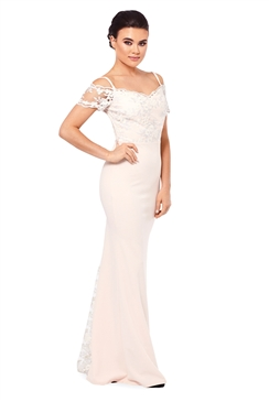 Sistaglam Daria Rose Pink Lace Bridesmaid Maxi Dress