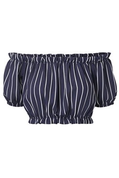Sistaglam Loves Jessica Wright Lyla navy/multi stripe elasticated bardot top