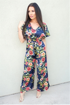 Jessica Wright Pollie floral print jumpsuit waist bow frill short sleeve